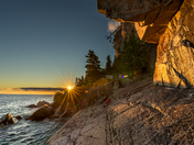 Sunset at Agawa Rock Indian Pictographic