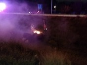 Not Breaking News - but video of SUV crash - on fire - last Fri  10/23  ~ 8:15 p
