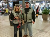 Lisa, Roy and their pet at University Mall.