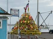 Plymouth harbor at Christmas time