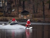 Santa getting some last water skiing in before delivering presents!
