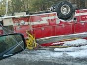 overturned firetruck