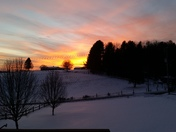 Sunset over snow