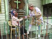 Mardi Gras King Alla 2016 Stephen Rue Greets Neighbor on Parade Route