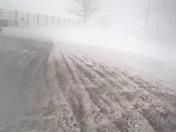 Blowing snow 7:30 am near Logan, Iowa.