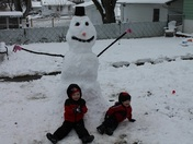 Jayson and Riley first snowman
