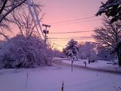 snowy sunset in Dover NH