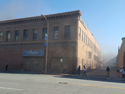 Old Dick Bruhn building on fire