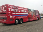 Bernie's bus parked at Isotopes