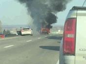 SUV on fire on interstate