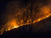 Brush Creek Fire in Bearwallow Mountain area near Fairview, NC