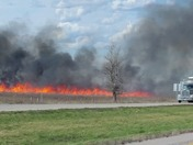 Fire I-29 Northbound by Percival, IA