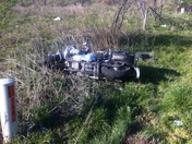Motorcycle accident on Old Wire in Springdale today