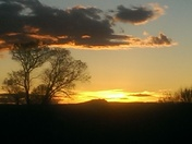 Sunset over the Tres Orejas west of Taos