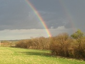 Double rainbow outside of New Sharon