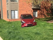 Car crashed into apartment building