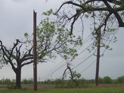 Strong damaging winds snap multiple utility poles in Pettis County