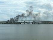 Fire under Seabreeze Bridge Daytona Beach.