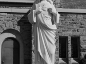black and white statue of Jesus