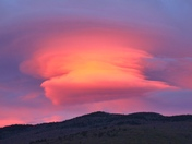 A lenticular clouds during sunset...