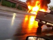 Huge truck and car fire 695 video