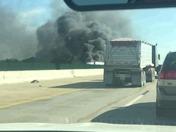 Semi truck on fire I 35