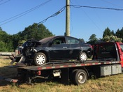 Car crash takes out Duke Power utility pole on E.North street and Mitchell road