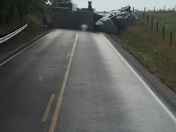 ky-101 semi flip over road shotdown