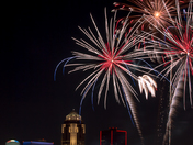 Fireworks over Downtown Des Moines after the Iowa Cubs game.