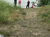 Woman falls down hillside in Grant Park