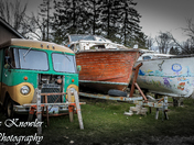 Old van and boats