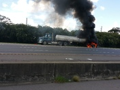 Tractor Trailer burning on I10