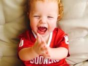 ready for Sooner Football born with Crimson hair