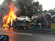 car carrier on fire on I95 and Bel Air