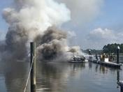 Boat fire at Osprey Point Marina, Rock Hall Maryland this morning