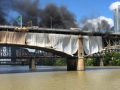 Construction Tarp Fire on Liberty Bridge