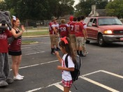 Friday Fun Drop-off with Muldrow Bulldogs Senior Football Players and Cheerleade