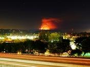 Loma Prieta fire at night