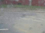 Hail fall at The Academy at Lincoln parking lot at 5:10 pm