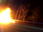 Car on fire outside of Boston