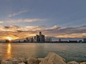 Detroit, Michigan Skyline from Windsor, Ontario