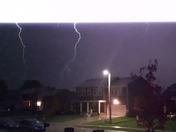 Lightning strikes in a Tornado Warning