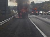 Trash truck burning