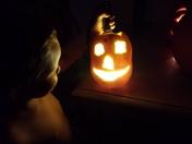 Kayden and his pumpkin