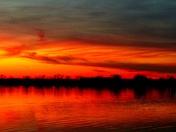 Sunset at lake manawa tonight