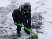 Cameron shoveling