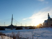 Winnipeg Esplanade Riel Bridge in winter
