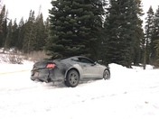 Car was stock in the snow.