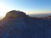 Sunrise over snow covered Pilot Mtn.