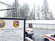 Snowing very large flakes at CAL FIRE Camino Headquarters